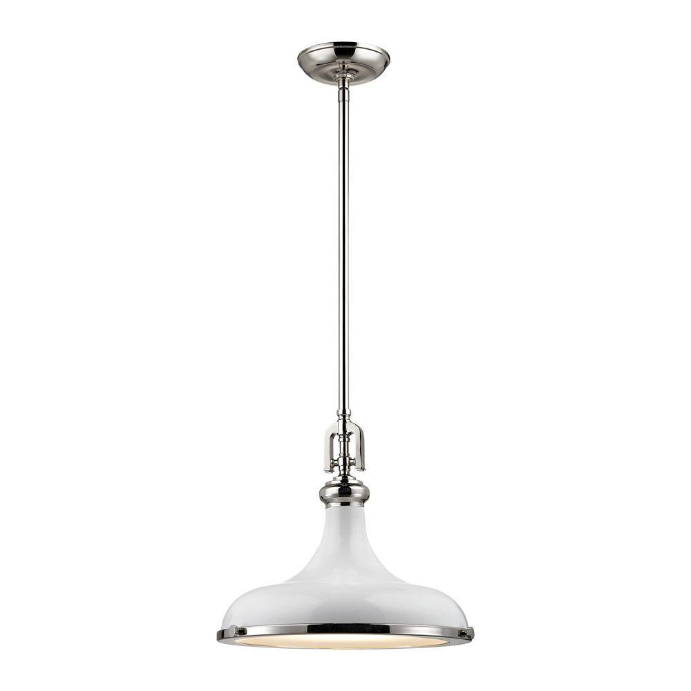 Titan Lighting Rutherford 1-Light Polished Nickel/Gloss White Pendant