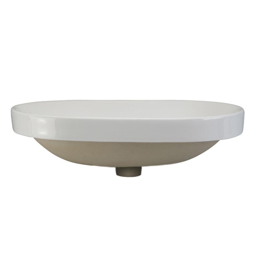 Oval drop in bathroom sink - Decolav Classically Redefined Semi Recessed Oval Bathroom Sink In White
