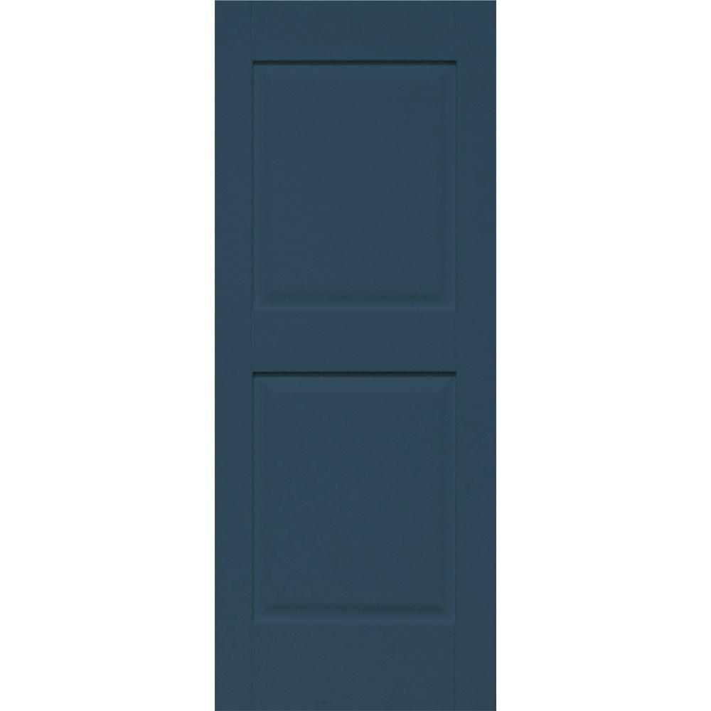 Home Fashion Technologies Plantation 14 in. x 39 in. Solid Wood Panel Exterior Shutters 4 Pair Behr Night Tide-DISCONTINUED