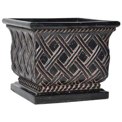 17.75 in. sq. Charcoal Cast Stone Lattice Planter