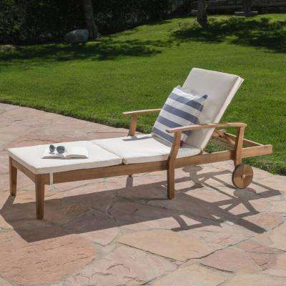 Giancarlo Teak Wood Outdoor Chaise Lounge with Cream Cushion