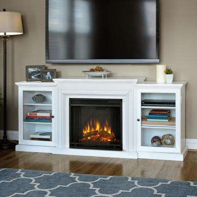 Frederick 72 in. Freestanding Electric Fireplace TV Stand Entertainment Center in White