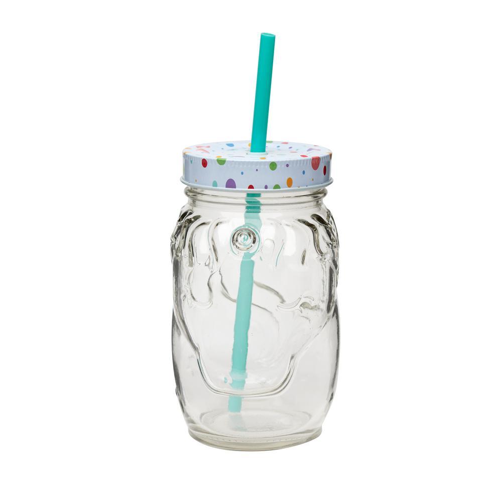 Unicorn 4-Piece Clear Mason Jar Drinkware Set with Plastic Straws