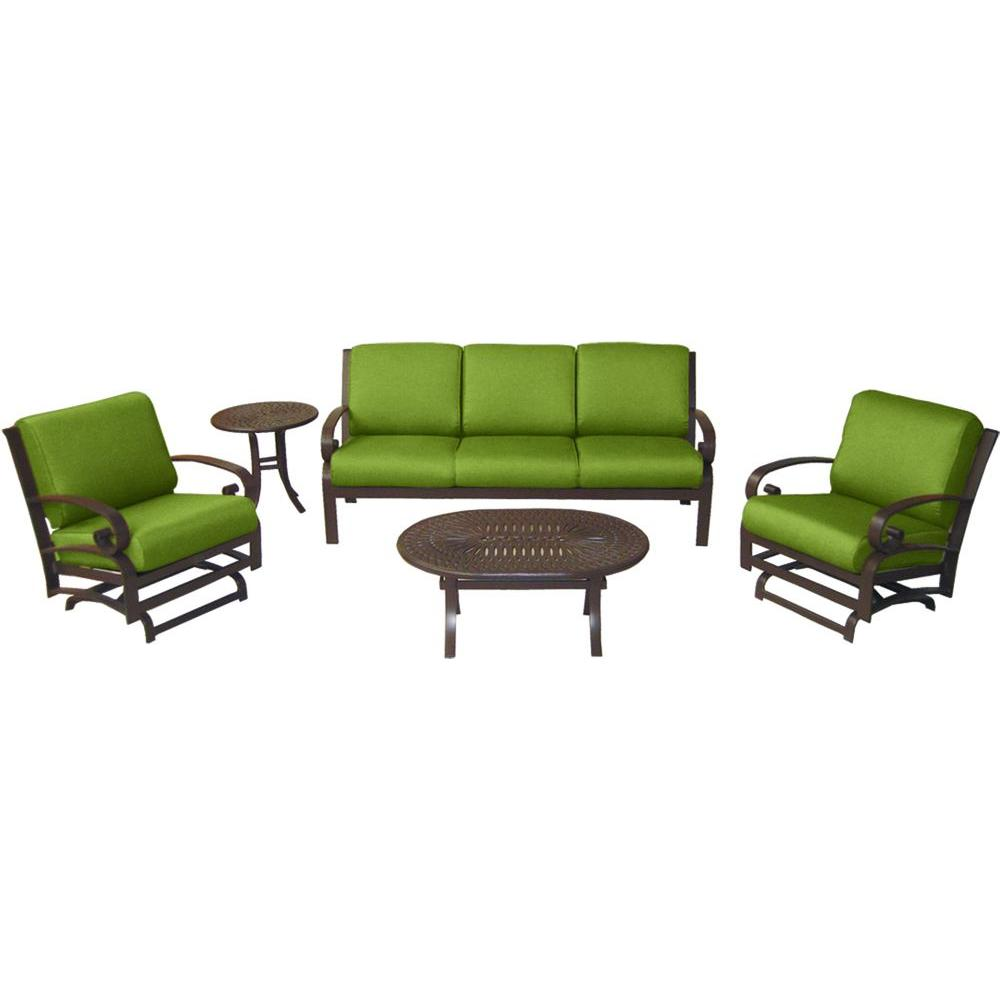 Tradewinds Valle Vista 5-Piece Citron Canvas and Java Patio Seating Set-DISCONTINUED