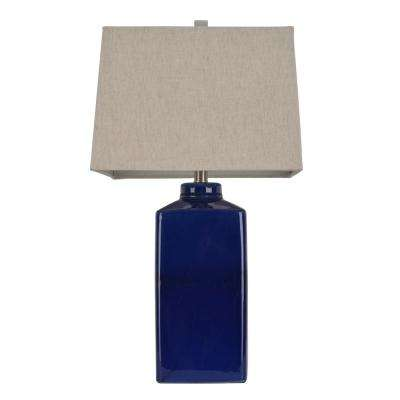 26.5 in. Blue Table Lamp with Linen Shade
