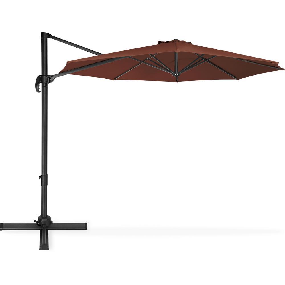 10 ft. Cantilever Tilt Patio Umbrella in Brown