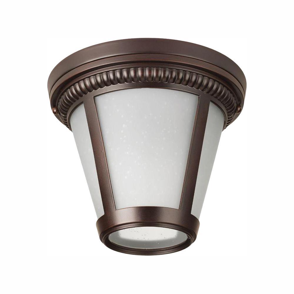 Westport Collection 1-Light Antique Bronze LED Outdoor Flushmount