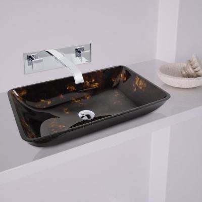 Rectangular Glass Vessel Bathroom Sink in Brown/Gold Fusion with Wall-Mount Faucet Set in Chrome