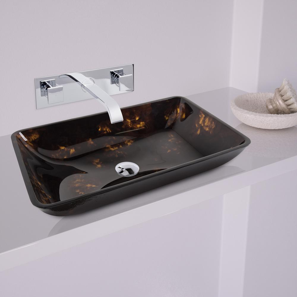 VIGO Rectangular Glass Vessel Sink in Brown/Gold Fusion with Wall ...