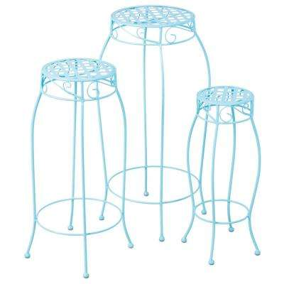 Martini Round Iron Coated Plant Stand in Sky Blue Finish (3-Set)
