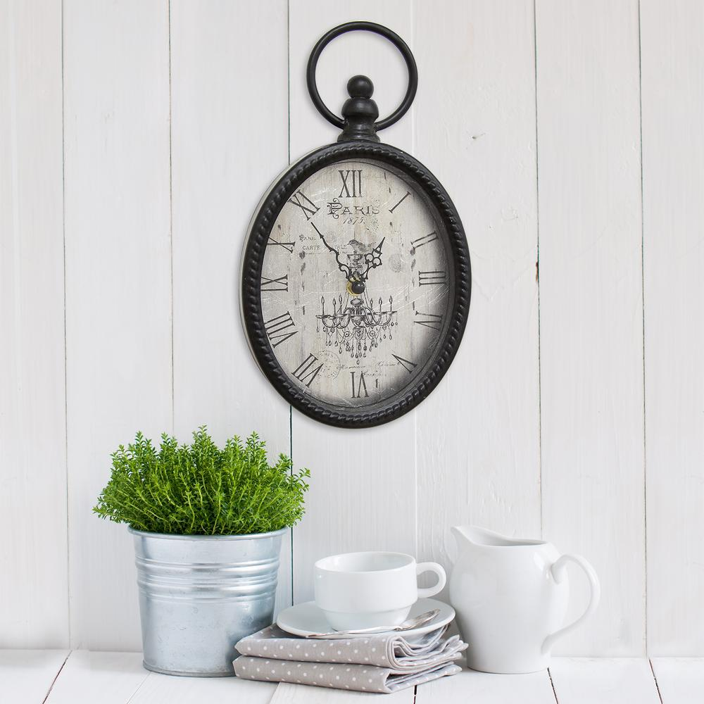 Stratton Home Decor Antique Black Oval Wall Clock-S02198