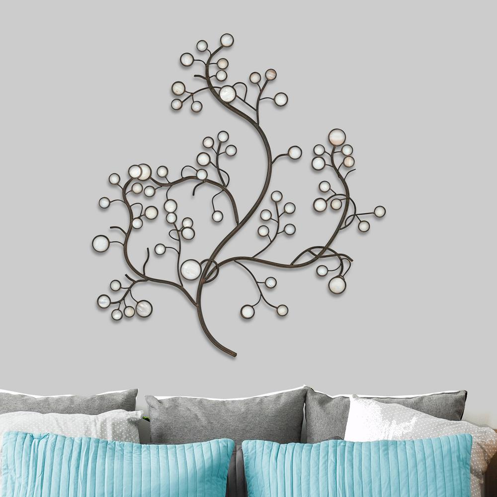 White Capiz Shell Tree Metal Work Wall Decor-2256 - The Home Depot