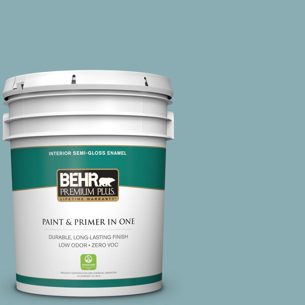 BEHR Premium Plus 5-gal. #510F-4 Bon Voyage Zero VOC Semi-Gloss Enamel Interior Paint