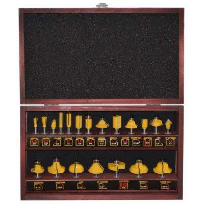 6.5 in. Steel Router Bit Set in Wood Box (20-Piece)
