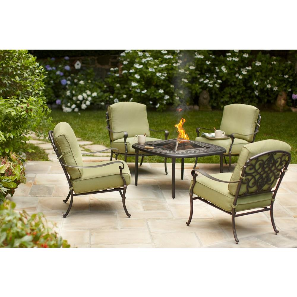 Hampton Bay Edington 5 Piece Patio Fire Pit Chat Set With Celery  Cushions 141 034 5FCH   The Home Depot