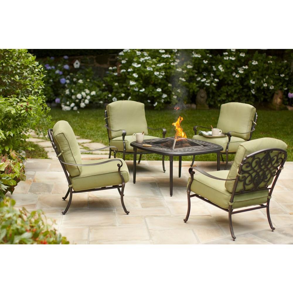 Hampton Bay Edington 5 Piece Patio Fire Pit Chat Set With Celery Cushions 141 034 5fch The Home Depot