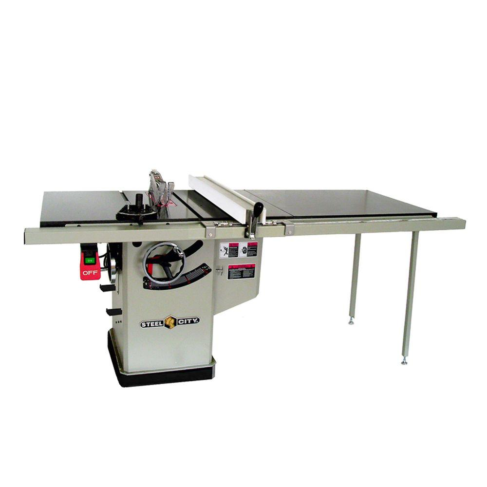 Steel City 10 in. 3 HP 50 in. Industrial Fence System Left Tilt Riving Knife Granite Cabinet Saw