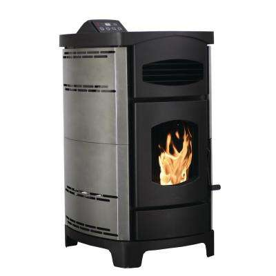 2,200 sq. ft. EPA Certified Pellet Stove with 40 lb. Hopper and Remote Control in Brushed Stainless Steel Sides