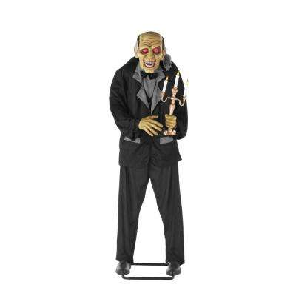 6 ft. Animated Standing Butler Holding Candelabra