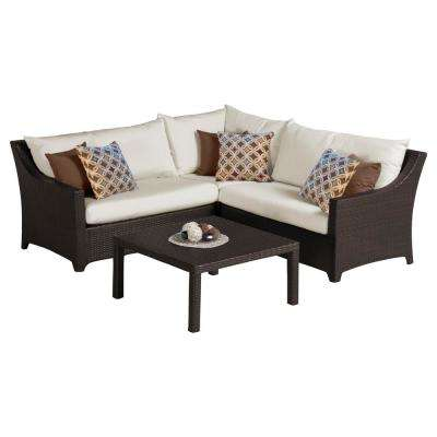 Deco 4-Piece Patio Corner Sectional Set with Moroccan Cream Cushions