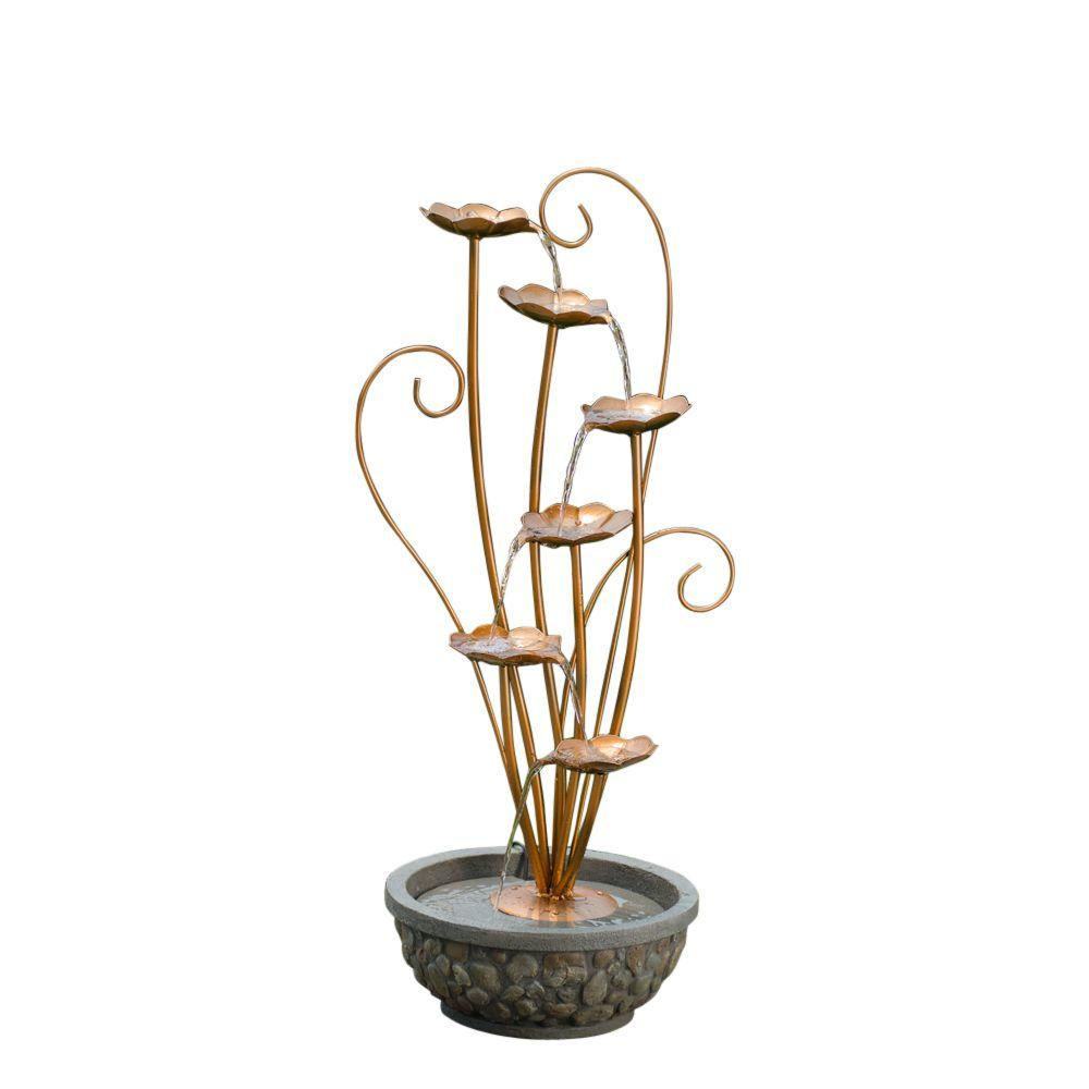 Jeco Metal Leaves Water Fountain-FCL100 - The Home Depot