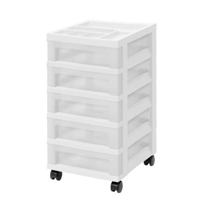 14.25 in. L x 12.05 in. W x 22.25 in. H 5-Drawer Storage Cart with Organizer Top in White and Pearl