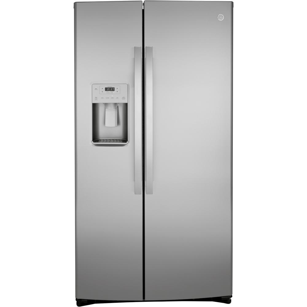 GE 21 8 cu  Ft  Side by Side Refrigerator in Stainless Steel, Counter Depth  and Fingerprint Resistant