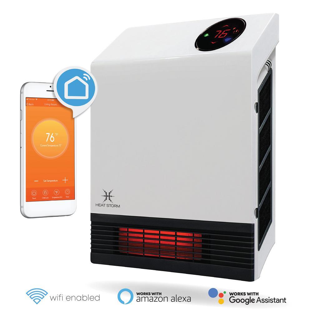 Heat Storm 1,000-Watt Wi-Fi Smart Heater Deluxe Indoor Floor to Wall Infrared Heater
