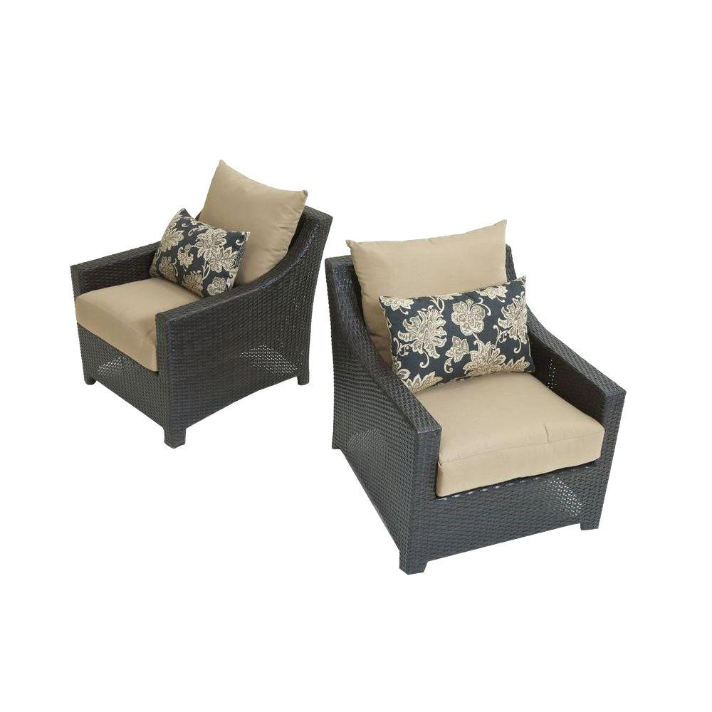 RST Brands Deco Patio Club Chair With Delano Beige Cushions (2 Pack)