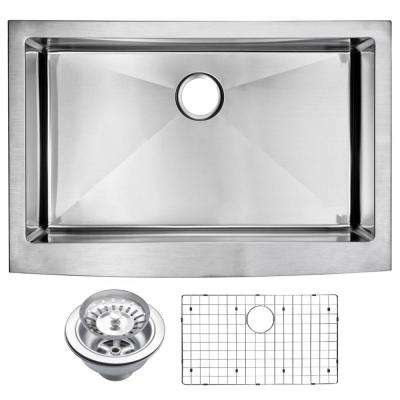Farmhouse Apron Front Stainless Steel 33 in. Single Bowl Kitchen Sink with Strainer and Grid in Satin