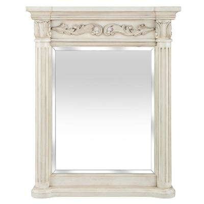Estates 28 in. x 34 in. Framed Wall Mirror in Antique White
