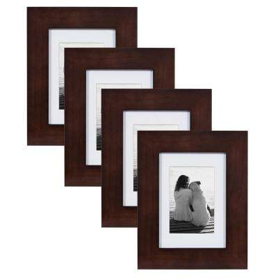 Museum 5 in. x 7 in. Matted to 3.5 in. x 5 in. Walnut Brown Picture Frame (Set of 4)