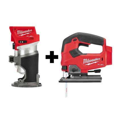 M18 FUEL 18-Volt Lithium-Ion Brushless Cordless Compact Router and Jig Saw 2-Tool Set (Tool-Only)