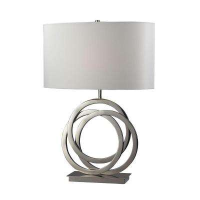 Trinity 25 in. Polished Nickel Table Lamp with Pure White Shade