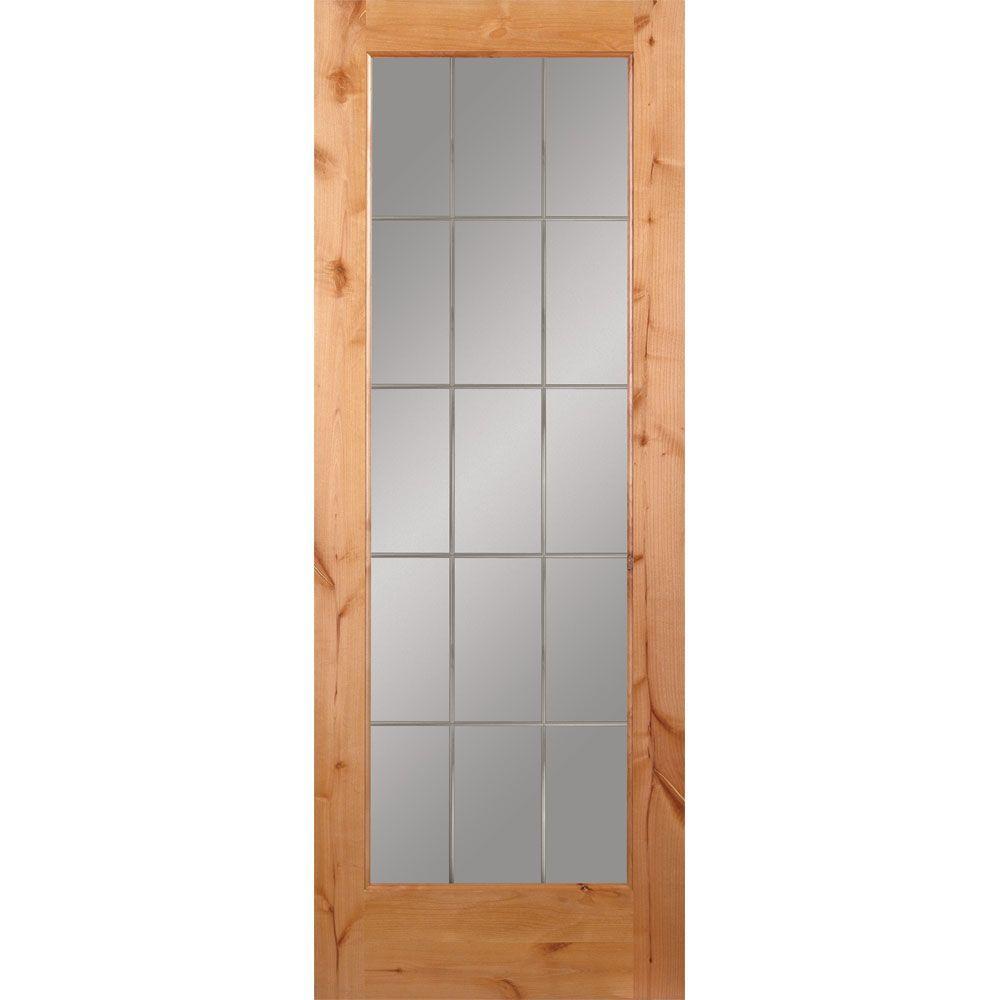 32 in. x 80 in. 15 Lite Illusions Woodgrain Unfinished Knotty Alder Interior Door Slab