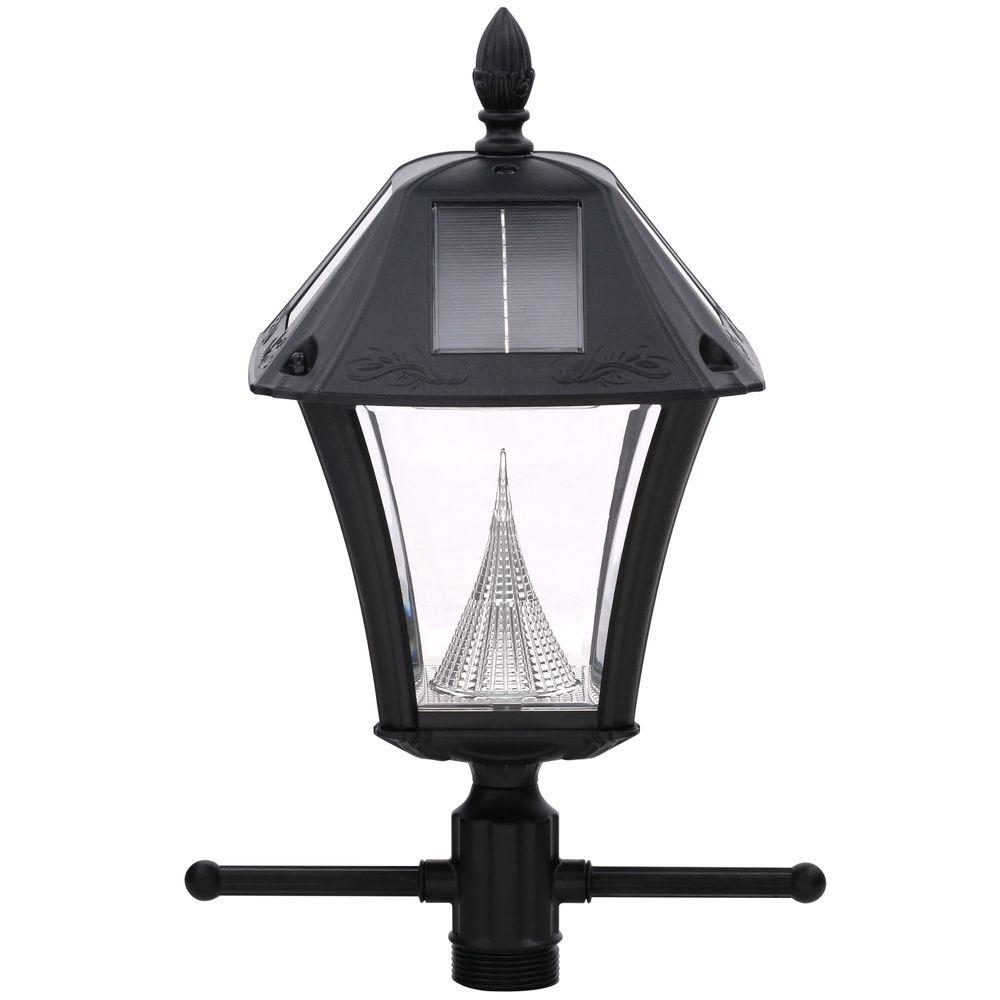 Gama sonic baytown ii solar black resin outdoor post light and lamp post with ez anchor base gs for Solar exterior post lantern light