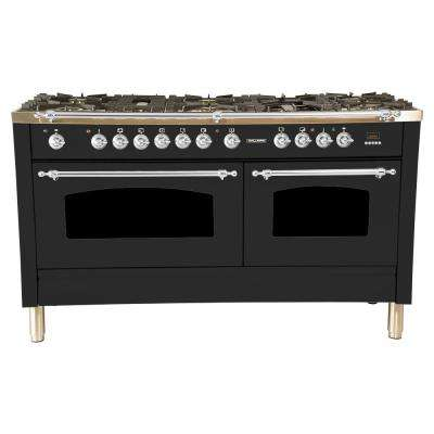 60 in. 6 cu. ft. Double Oven Dual Fuel Italian Range True Convection, 8 Burners, Griddle, Chrome Trim in Matte Graphite