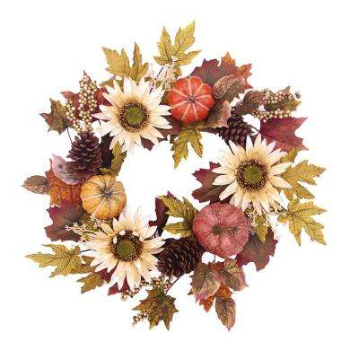 26 in. Unlit Artificial Harvest Sunflower with Pumpkin Wreath