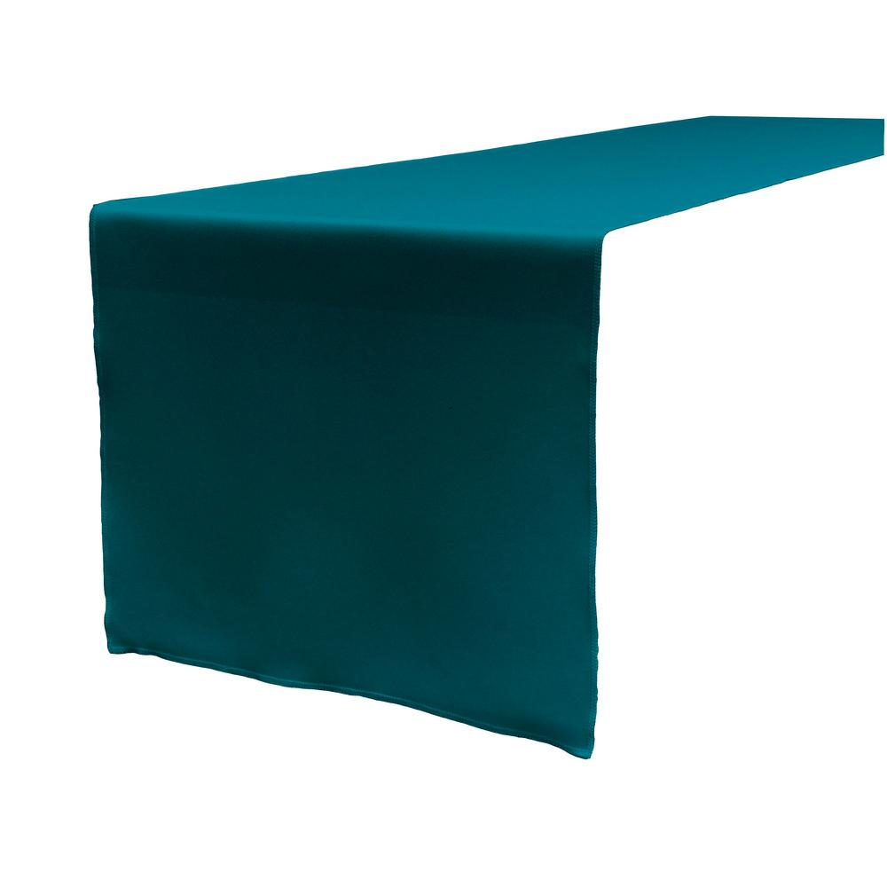 14 in. x 108 in. Dark Teal Polyester Poplin Table Runner
