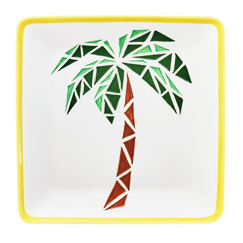 14 in. Paradise Palm White Ceramic Serving Platter with Yellow Rim