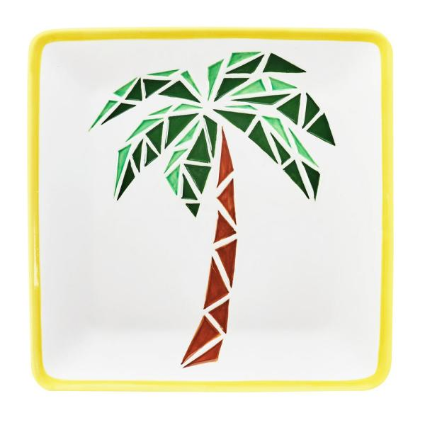 Amici Home 14 in. Paradise Palm White Ceramic Serving Platter with