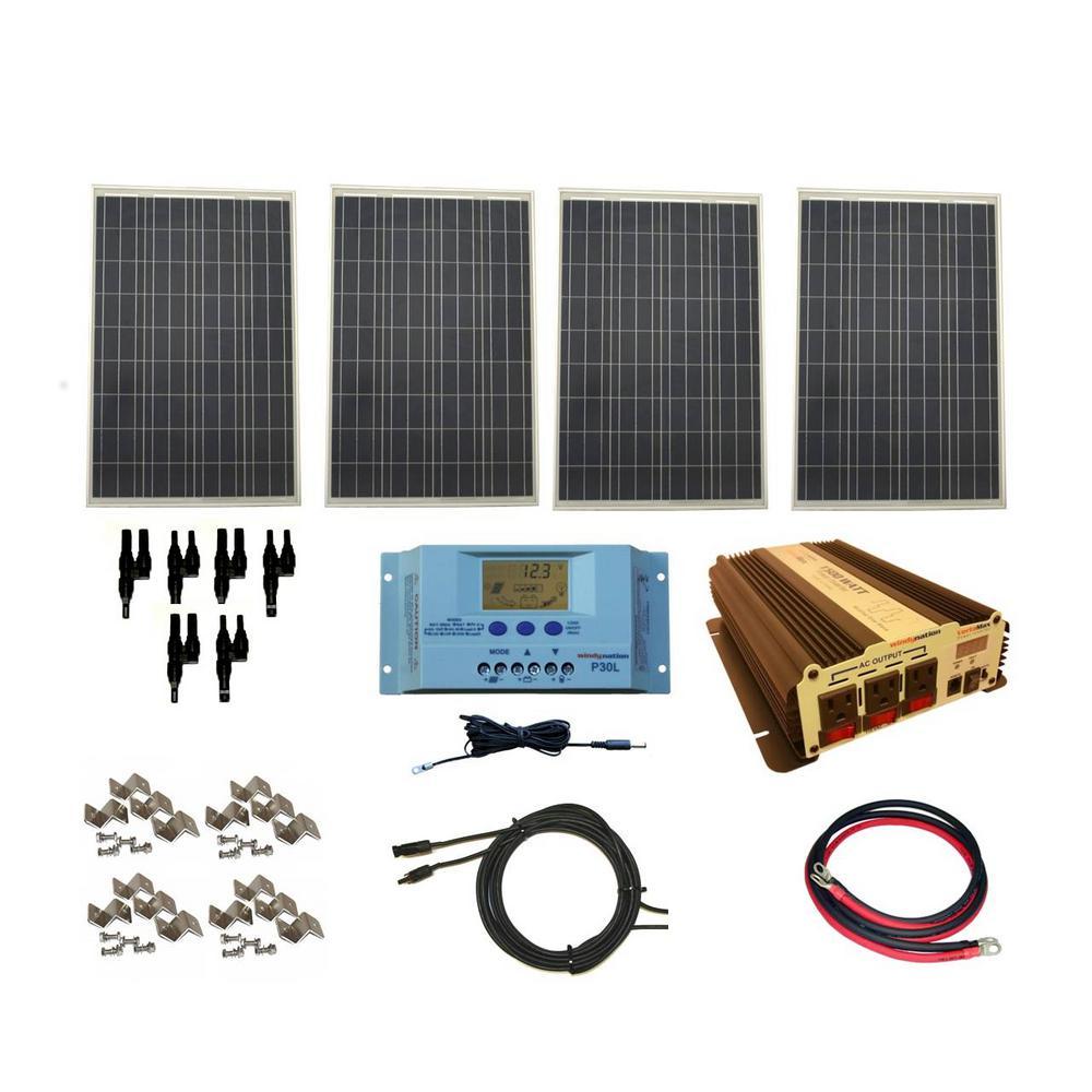 WindyNation 400-Watt Off-Grid Polycrystalline Solar Panel Kit with  1500-Watt VertaMax Power Inverter