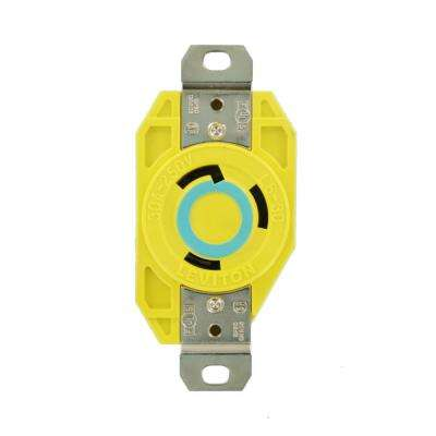 30 Amp 250-Volt Flush Mounting Locking Outlet Industrial Grade Grounding Corrosion Resistant, Yellow