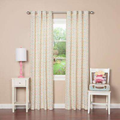 84 in. L Pink Multi Color Dot Curtain Panel (2-Pack)