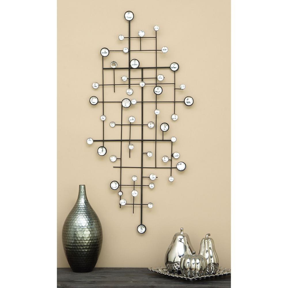Geometric 42 in. Metal and Gemstones Wall Art