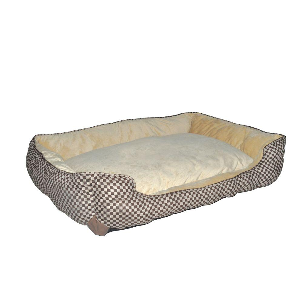 Lounge Sleeper Large Brown Square Self Warming Dog Bed
