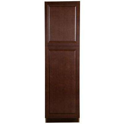 Benton Assembled 24 in. x 84 in. x 24.6 in. Pantry Cabinet with Adjustable Shelves in Amber