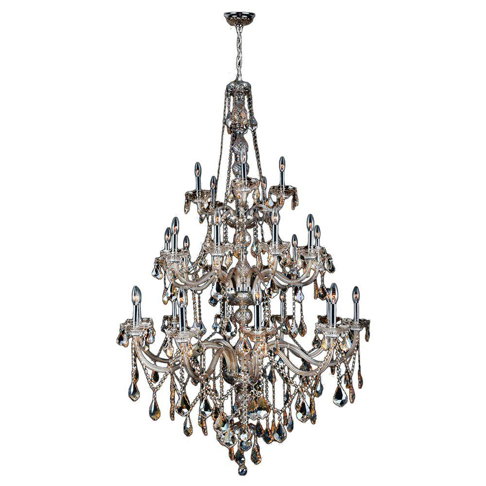 Worldwide Lighting Provence Collection 25-Light Polished Chrome with Golden Teak Crystal Chandelier