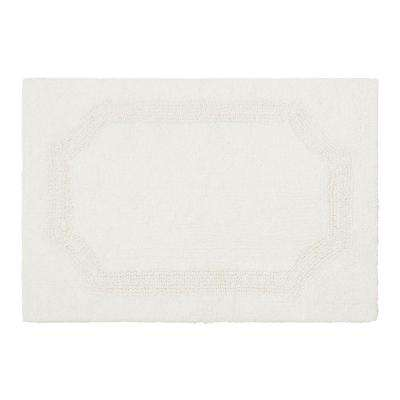 Reversible White 21 in. x 34 in. Cotton Bath Mat