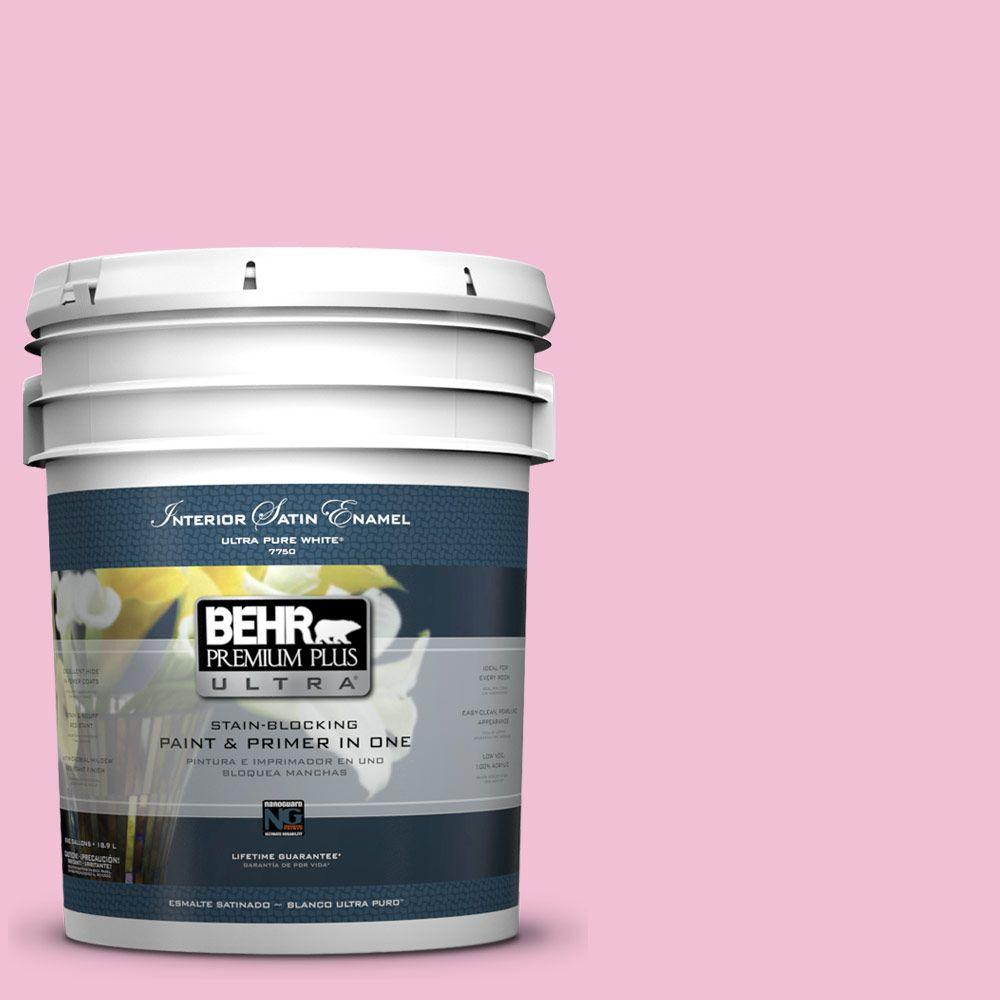 BEHR Premium Plus Ultra 5-gal. #100B-4 Pink Chintz Satin Enamel Interior Paint